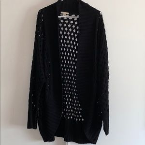 Cozy Casual Black Knit Cardigan 1X/2X